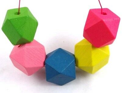 20mm Geometric Mix Color Wood Polyhedron faceted Beads (10)