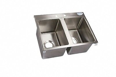 """BK Resources S/S 2 Compartment Drop In Sink 10""""x14""""x10"""" NSF BK-DIS-1014-2"""