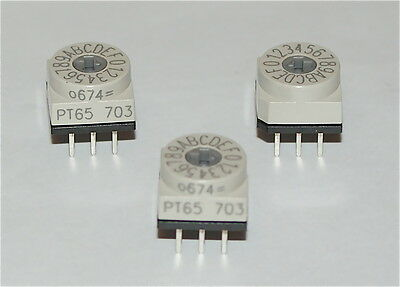 Rotary Dip Switch Pcb Mounting Binary Coded Hexadecimal Pt65703 - Three Pieces