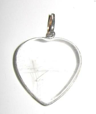 Polished Natural quartz&Silver crystal HEART Pendant/A1