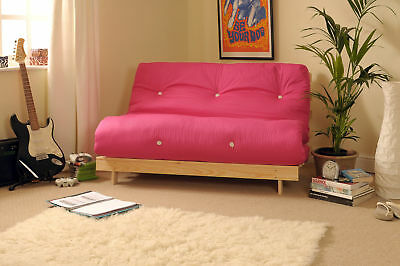 Double 4ft6 Luxury Futon 2/3 Seater Wooden Frame Sofa Bed Mattress in 11 Colours