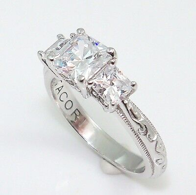 Tacori Past Present Future CZ Three Stone Engagement Sterling Silver 925 Ring