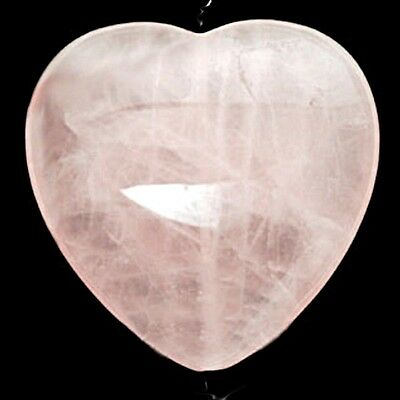 Awesome New 45Mm *rose Quartz* Puff Heart - Reiki Healing - A+ Grade