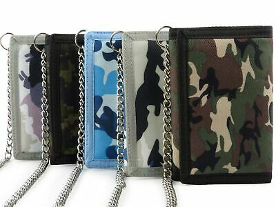 Mens Boys CAMOUFLAGE Wallet with Chain & Clip Canvas TriFold CAMO Slim