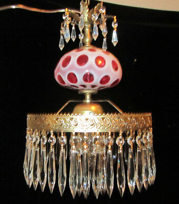 1of2 Fenton Cranberry opalescent Brass Glass ceiling Lamp Chandelier Vintage old