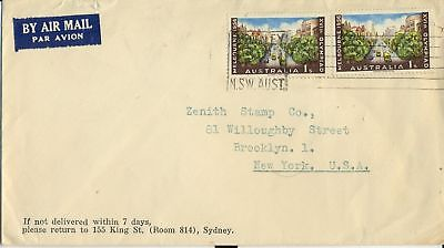Olympic stamps 1/- pair Australia 1956 on cover sent airmail to USA, uncommon