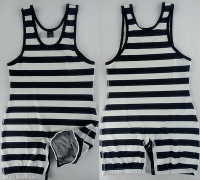 Mens Stripes Wrestling Singlet Gym Aerotics Outfit Weight Lifting