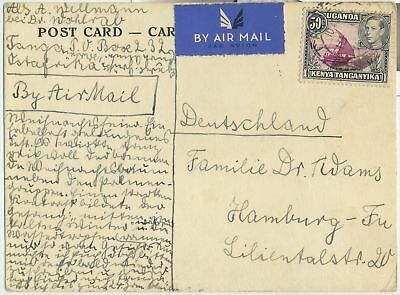 Stamp Uganda Kenya Tanzania 1938 KGV1 on postcard sent to Germany, message back