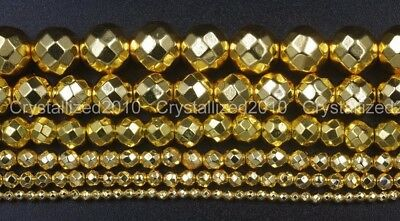 """Hematite Gemstone Faceted Round Ball Beads 16"""" Gold 2mm 3mm 4mm 6mm 8mm 10mm"""