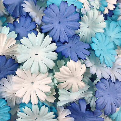 500 Blue White Paper Flowers Scrapbook Cardmaking Basket Craft Supply P70-607