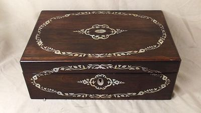 1852 Victorian Rosewood Writing Slope With Mother Of Pearl Inlay