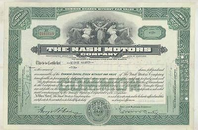 1934 Nash ORIGINAL Automobile Stock Certificate wt3608