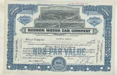 1938 Hudson ORIGINAL Automobile Stock Certificate wt3623