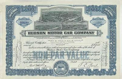 1939 Hudson ORIGINAL Automobile Stock Certificate wt3624