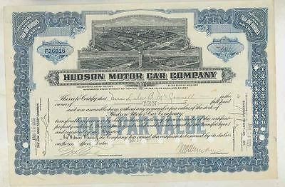 1929 Hudson Automobile ORIGINAL Stock Certificate wt3632