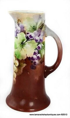 "c1890-1932 Jean Pouyat Limoges Tankard France 11"" HP Grape Vine Motif Two-Tone"