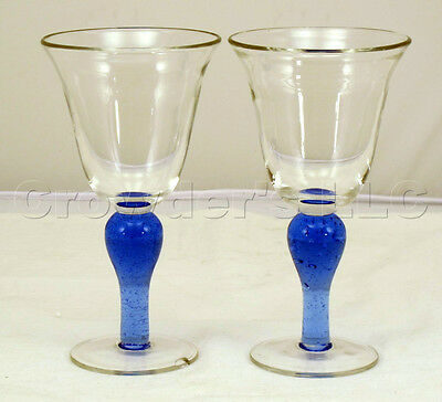 Heavy Blue Bottom Clear Top Bell Shaped Wine Liquor Cup Glasses - Set of 2