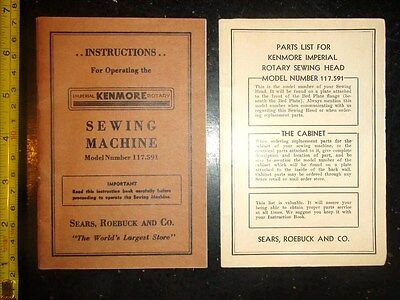 BB683 Vint LOT of 2-Instr.&Parts/Price List-Kenmore Sewing Mach.Sears Roebuck Co