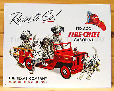 Texaco Fire Chief Gasoline Rarin To Go TIN SIGN vtg truck dog wall art decor 594