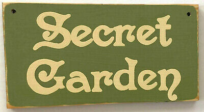 SECRET GARDEN Decor Sign Plaque Cottage Chic Vintage Look U-Pick Color Wooden