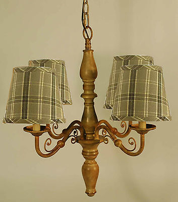 Taupe Metal 4-Arm Chandelier with Black and Tan Plaid Shades