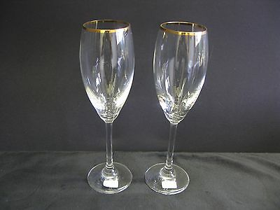 2 German Made Crystal Wine Glasses With Gold Trim