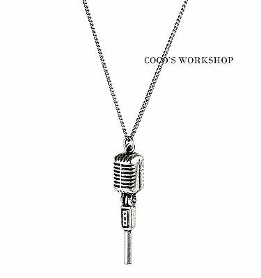 Vintage Silver Microphone Necklace Long Chain Pendant Mens Necklace Punk Goth