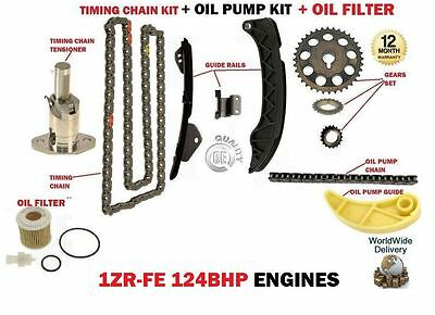 For Toyota 1Zr-Fe 1Zrfe 124Bhp 2007-> Timing Chain Kit + Oil Pump Chain + Filter
