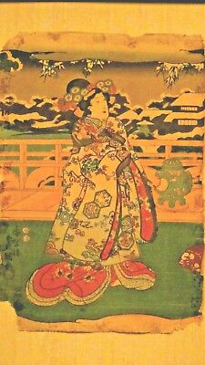Utagawa Toyokuni Iii(1786-1865,japan)Woodblock On Paper Winter Scene W.woman 19C