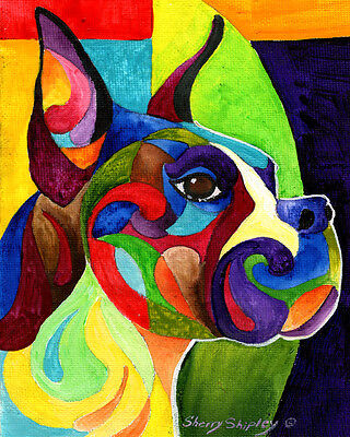 BOXER 8X10 Colorful DOG Print from Artist Sherry Shipley