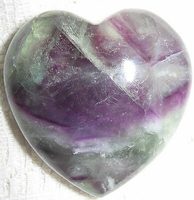 Awesome 45Mm **flourite** Gemstone Puff Heart - Reiki Healing - A Grade