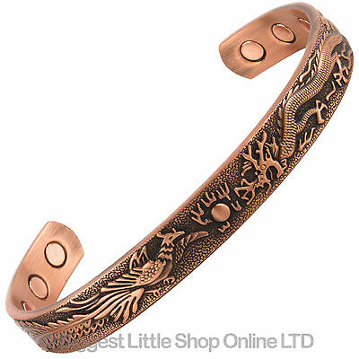 MAGNETIC Bangle BRACELET Dragon Design Antique COPPER NEW NdFeB Magnets Bio Gift
