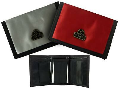 NEW Mens Boys Nylon WALLET TriFold with Change Section by Giorgio Silver or Red
