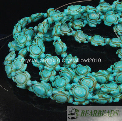 Blue Howlite Turquoise Carved Turtle Spacer Loose Crafts Beads 14mm x 17mm 16""