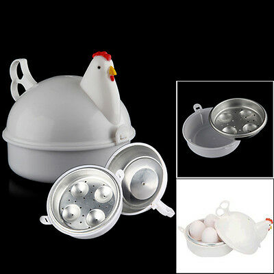 Plastic Chicken Microwave 4Egg Boiler Steamer Poacher Boiler Cooker Kitchen Tool