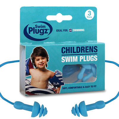 3 Pairs Childrens Kids Silicone Earplugs & Safety Cord for Swimming Swim Holiday