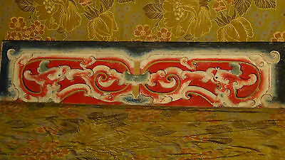 """Antique 19C Chinese Wood Handcarved,Painted Temple Dragon,Flowers Plaque 2""""Thick"""