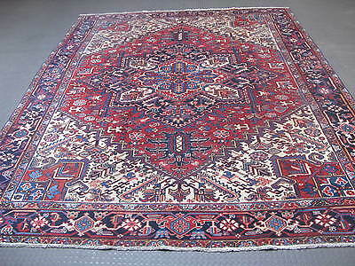 Semi Antique Persian Heriz Hand Knotted Wool Rug 9'-2 x 11'-7