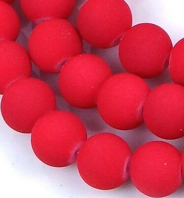 """8mm Matte Frosted Neon Rubberized Glass Round Beads  - Red 14"""" (50pcs)"""