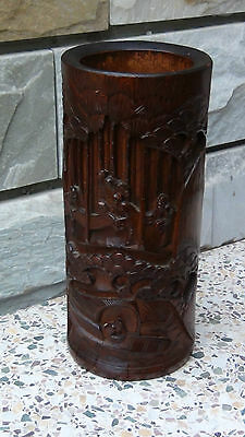 Antique 19C Chinese Bamboo Wood Hand Carved Brush Holder Pot  Immortals