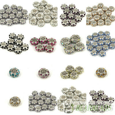 Big Hole Crystal Rhinestone Pave Pewter Rondelle Spacer Beads Fit European Charm
