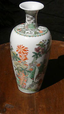 """ANTIQUE EARLY KANGXI PERIOD 1680 c. CHINESE PORCELAIN  FAMILLE ROSE VASE 10""""H"""