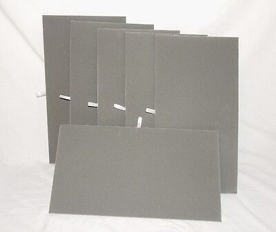 "LOT OF 6 GRAY VELVET FLAT PADS FOR TRAYS OR DISPLAY BOARDS 14 1/8"" x 7 5/8""."