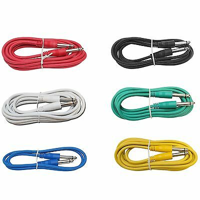 6Pack 3ft foot mono 1/4 to Guitar Effects Pedal PA DJ multicolor patch cables