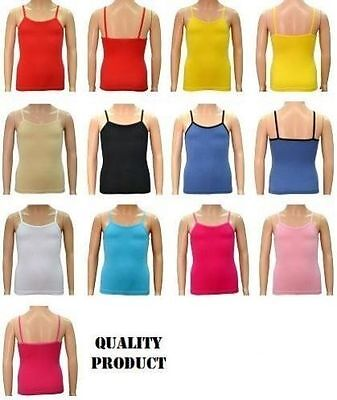 Girl's/ladies Cotton Lycra Spaghetti Strap Quality Camisole Vest Tops