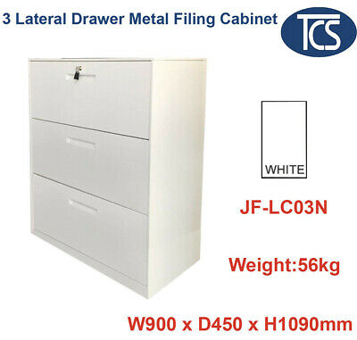 Tcs New Lateral 3 Drawer Metal Storage Filing Cabinet Home & Office Furniture