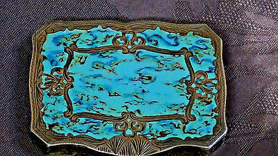 Antique Italian Sterling Silver Enamel Hand Painted Marblized Compact Gold Wash