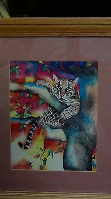 "Vintage Original Japanese Watercolor Ink Painting On Paper""baby Tiger Relaxing"""