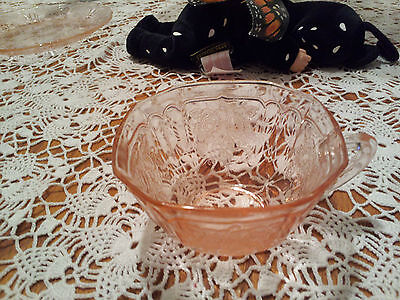 Anchor Hocking Depression Glass Pink Mayfair Open Rose Cup