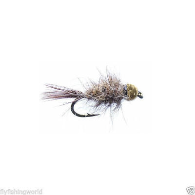 12 NYMPH Hare & Copper GOLD Tungsten BEAD HEAD TROUT FLIES for fly fishing